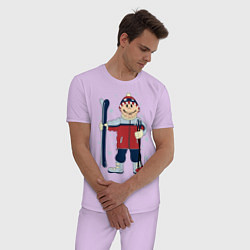Пижама хлопковая мужская Лыжник цвета лаванда — фото 2