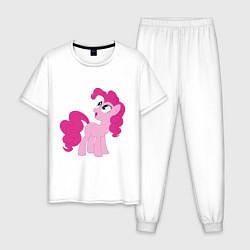 Пижама хлопковая мужская Пони Пинки Пай цвета белый — фото 1