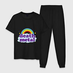 Пижама хлопковая мужская Death Metal: Rainbow цвета черный — фото 1