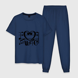 Пижама хлопковая мужская I love music цвета тёмно-синий — фото 1