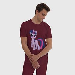 Пижама хлопковая мужская Пони Сумеречная Искорка цвета меланж-бордовый — фото 2