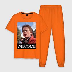 Пижама хлопковая мужская Welcome to the future цвета оранжевый — фото 1