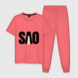 Пижама хлопковая мужская SAO цвета коралловый — фото 1