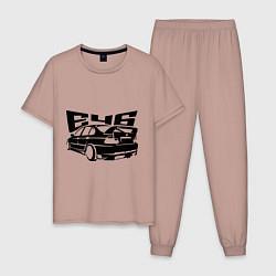 Пижама хлопковая мужская BMW e46 цвета пыльно-розовый — фото 1
