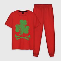 Пижама хлопковая мужская Клевер цвета красный — фото 1