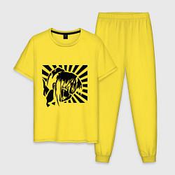 Пижама хлопковая мужская Hentai Girl цвета желтый — фото 1