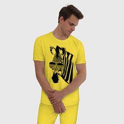 Пижама хлопковая мужская Зебра в очках цвета желтый — фото 2