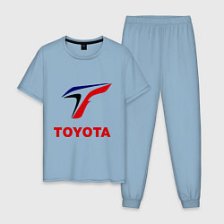 Пижама хлопковая мужская Тойота цвета мягкое небо — фото 1