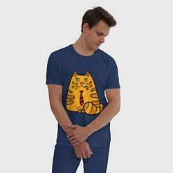 Пижама хлопковая мужская Котик жених цвета тёмно-синий — фото 2