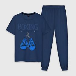 Пижама хлопковая мужская Boxing champions цвета тёмно-синий — фото 1