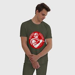Пижама хлопковая мужская Пожарная охрана цвета меланж-хаки — фото 2