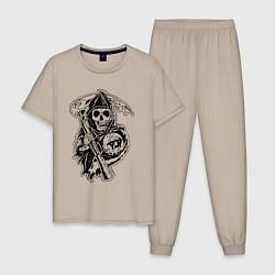 Пижама хлопковая мужская Sons Of Anarchy: Death цвета миндальный — фото 1