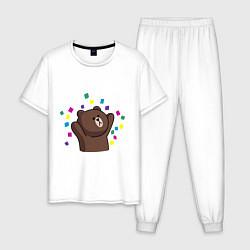 Пижама хлопковая мужская Мишка в серпантине цвета белый — фото 1