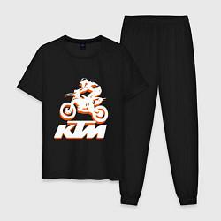 Пижама хлопковая мужская KTM белый цвета черный — фото 1
