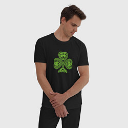 Пижама хлопковая мужская Celtic сlover цвета черный — фото 2