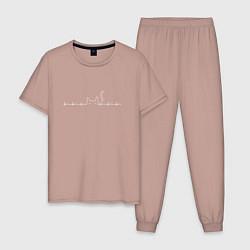 Пижама хлопковая мужская Пульсирующий кот цвета пыльно-розовый — фото 1