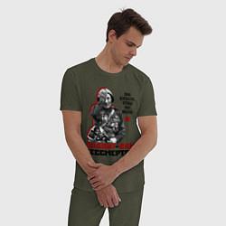 Пижама хлопковая мужская Подвиг ваш бессмертен цвета меланж-хаки — фото 2