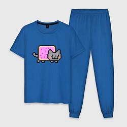Пижама хлопковая мужская NYAN CAT цвета синий — фото 1