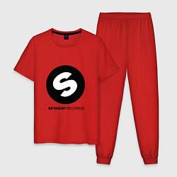 Пижама хлопковая мужская Spinnin records цвета красный — фото 1