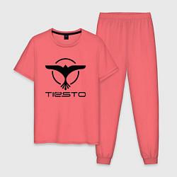 Пижама хлопковая мужская Tiesto цвета коралловый — фото 1