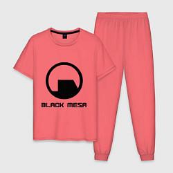 Пижама хлопковая мужская Black Mesa: Logo цвета коралловый — фото 1