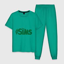 Пижама хлопковая мужская Sims цвета зеленый — фото 1