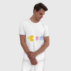 Пижама хлопковая мужская Pac-Man: Fast Eat цвета белый — фото 2
