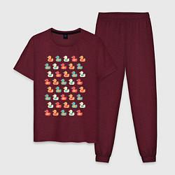 Пижама хлопковая мужская Утки цвета меланж-бордовый — фото 1
