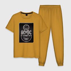 Пижама хлопковая мужская AC/DC: Let there be rock цвета горчичный — фото 1