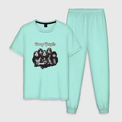 Пижама хлопковая мужская Deep Purple: Rock Group цвета мятный — фото 1