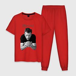 Пижама хлопковая мужская House Brain цвета красный — фото 1