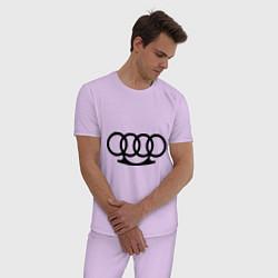Пижама хлопковая мужская Audi кастет цвета лаванда — фото 2