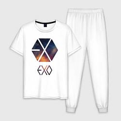 Пижама хлопковая мужская EXO цвета белый — фото 1