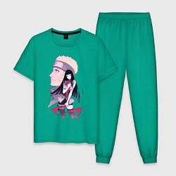 Пижама хлопковая мужская Naruto Last Film цвета зеленый — фото 1