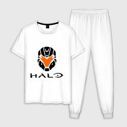 Пижама хлопковая мужская Halo: Robot Mask цвета белый — фото 1