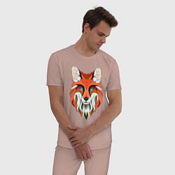 Пижама хлопковая мужская Дизайнерская лиса цвета пыльно-розовый — фото 2