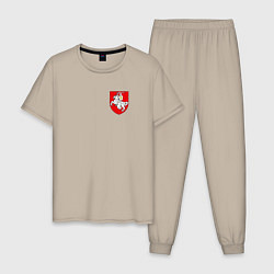 Пижама хлопковая мужская Погоня: герб цвета миндальный — фото 1