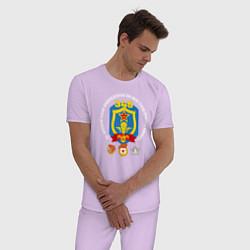 Пижама хлопковая мужская 345 ПДП ВДВ цвета лаванда — фото 2