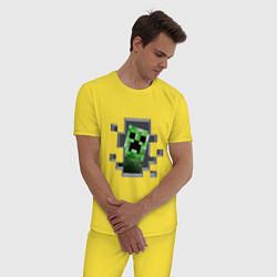 Пижама хлопковая мужская Creeper Inside цвета желтый — фото 2