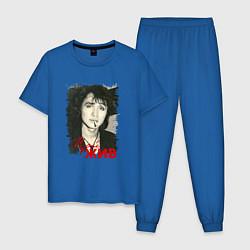 Пижама хлопковая мужская Цой жив цвета синий — фото 1