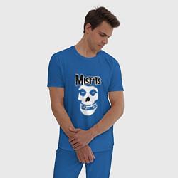 Пижама хлопковая мужская Отбросы цвета синий — фото 2