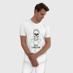 Пижама хлопковая мужская Tate Langdon цвета белый — фото 2