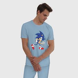 Пижама хлопковая мужская Sonic the Hedgehog цвета мягкое небо — фото 2