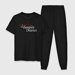 Пижама хлопковая мужская The Vampire Diaries цвета черный — фото 1