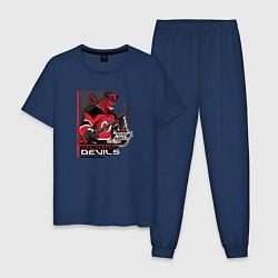 Пижама хлопковая мужская New Jersey Devils цвета тёмно-синий — фото 1
