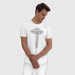 Пижама хлопковая мужская Эмблема цвета белый — фото 2