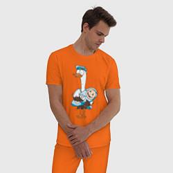 Пижама хлопковая мужская Аист с малышом цвета оранжевый — фото 2