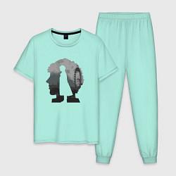 Пижама хлопковая мужская Sherlock World цвета мятный — фото 1