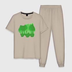 Пижама хлопковая мужская Bulbasaur Shadow цвета миндальный — фото 1