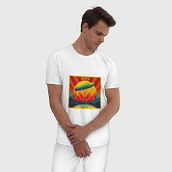 Пижама хлопковая мужская Led Zeppelin цвета белый — фото 2